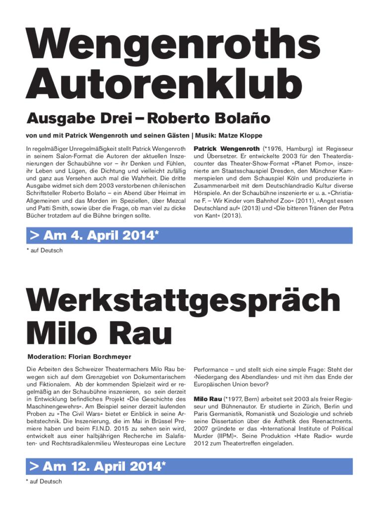 Schaubühne am Lehniner Platz (Berlin): Programmheft FIND#14, Seite 15.