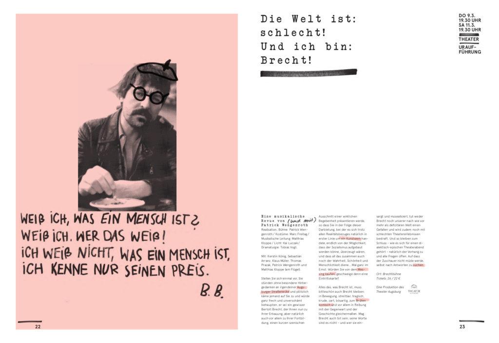 Brechtfestival 2017, Programmheft, Seiten 22–23.