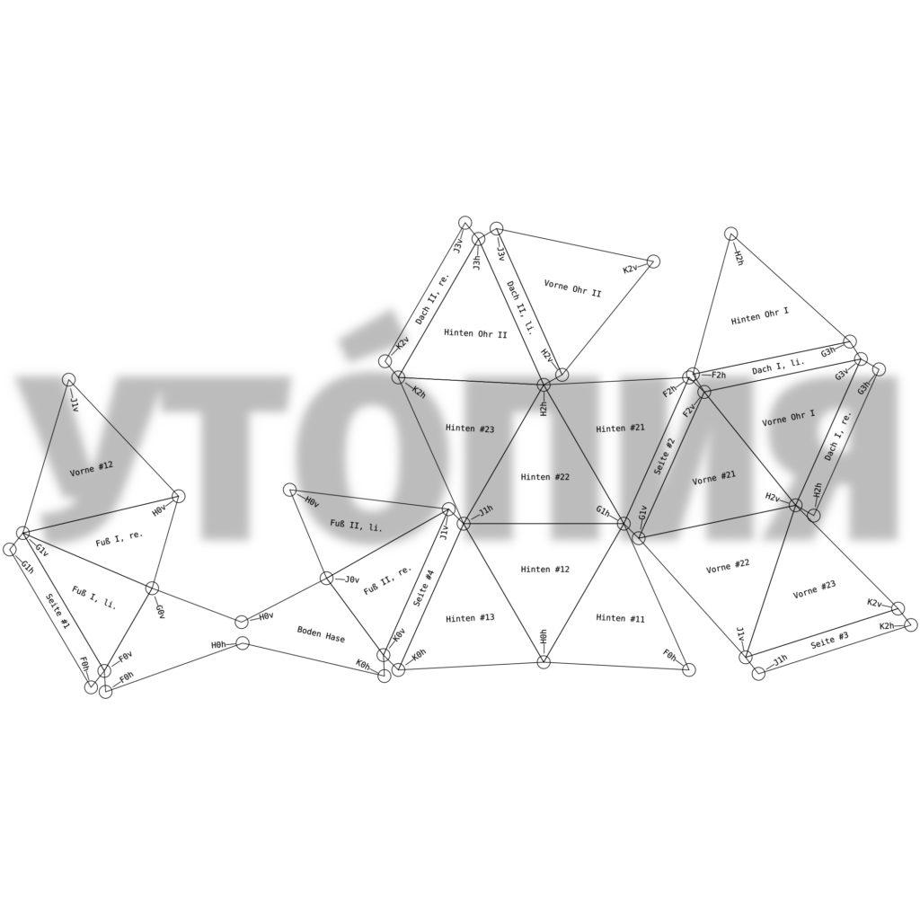 »Utopia, meinetwegen«: Abwicklung der Oberfläche eines mobilen Spomenik-Elementes. Technische Zeichnung / Programmierung: Jörg Preisendörfer.