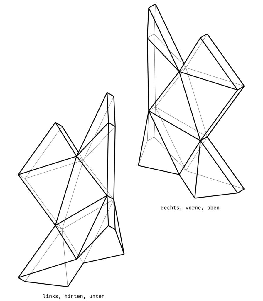 »Utopia, meinetwegen«: Axonometrie eines mobilen Spomenik-Elementes. Technische Zeichnung: Jörg Preisendörfer.